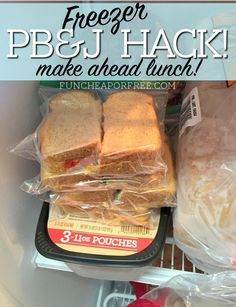 Best lunch hack ever! Freezer PB&J sandwiches, make ahead in the week and pull o… Best lunch hack ever! Freezer PB&J sandwiches, make ahead in the week and pull out as needed! It's super easy and only takes a few steps. First, make sandwiches as usual. Easiest Bread Recipe Ever, Easy Bread Recipes, Gourmet Recipes, Healthy Recipes, Cooking Recipes, Fun Recipes, Recipies, Freezer Sandwiches, Pb And J Sandwiches