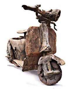 Vespa scooter with engine / found weathered woods / by Tony Fredriksson ~ known for his large scale driftwood sculptures Driftwood Sculpture, Sculpture Art, Sculptures, Driftwood Furniture, Driftwood Crafts, Into The Woods, Carpentry And Joinery, Bokashi, Wooden Art