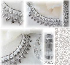 """Schéma ...Collier """" Victoire"""" de Les perles de Puca Rocaille 11  Rocaille 15  Super duo  Perles rondes ou abacus 3mm  Facettes 2mm ou ronde 2mm"""
