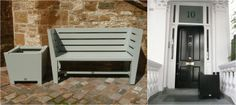 The Oxford Bench with Merton Planter on the left, and a Hertford Planter on the right.