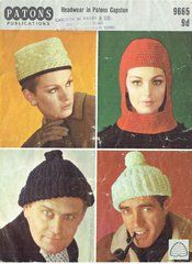Patons 9665 ladies and gents hats vintage knitting and crochet pattern