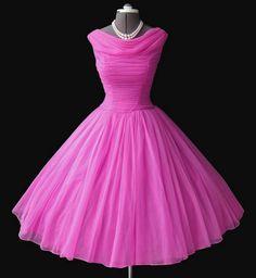hot pink 50s chiffon dress