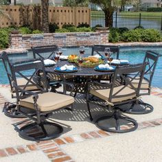 Carrolton 6 Person Cast Aluminum Patio Dining Set With Swivel Rockers And  Round Table