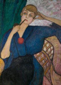 Gabriele Munter, German Expressionist painter who was at Munich avant-gard Portrait of Anna Aagaard, 1917 Wassily Kandinsky, Henri Matisse, Harlem Renaissance, Cavalier Bleu, Ludwig Meidner, Tableaux Vivants, August Macke, Blue Rider, Art Gallery