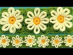 Como tejer a Crochet flores margaritas en punto tunecino blusas chalecos mantas how to crochet - YouTube