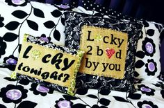 Lucky in Love - appliqued or painted pillows....Tutorial and patterns here