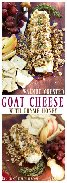 Walnut-Crusted Goat Cheese with Thyme Honey is an elegant appetizer to serve at any dinner party, along with your favorite crackers and grapes Elegant Appetizers, Appetizers For Party, Appetizer Recipes, Appetizer Ideas, Party Snacks, Thanksgiving Recipes, Fall Recipes, Holiday Recipes, Christmas Recipes