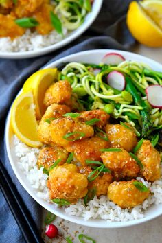 This crispy baked cauliflower in Chinese lemon sauce is a vegan version of the Chinese restaurant classic lemon chicken. It's super easy to make, simply bread cauliflower florets in panko breadcrumbs and bake while you simmer a simple sticky, garlicky, lemon sauce. Drizzle the sauce over the baked cauliflower and enjoy while it's deliciously hot and crispy.