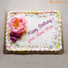 Write Name On Simple Birthday Cake For Mother Happy