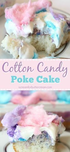 This cotton candy poke cake has a light cotton candy flavor plus a colorful white chocolate pudding soaked in, then topped with cool whip and cotton candy. Easy Cake Recipes, Sweet Recipes, Baking Recipes, Dessert Recipes, 13 Desserts, Delicious Desserts, Yummy Food, Desserts Caramel, Colorful Desserts