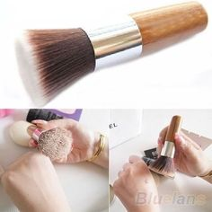Flat Top Buffer Foundation Powder Brush Cosmetic Makeup Basic Tool Wooden Handle