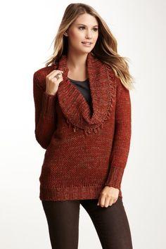 Fringe Cowl Neck Sweater