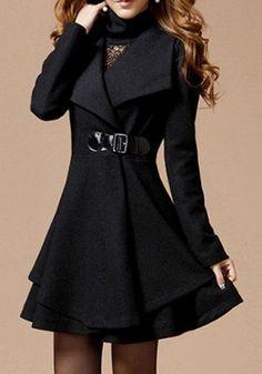 Black Plain Double-deck Long Sleeve Fashion Polyester Wool Coat