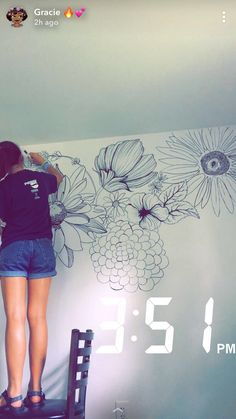 Best Of Floral Wall Mural Painting Diy Wall Arts Flower wall paint With images Mural Floral, Flower Mural, Floral Wall, Diy Wall Painting, Diy Wall Art, Painting Murals On Walls, Painted Wall Murals, Wall Painting Flowers, Wall Paintings
