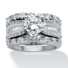 5.62 TCW Round Cubic Zirconia Platinum Over Sterling Silver Bridal Engagement Ring Wedding Band Set at PalmBeach