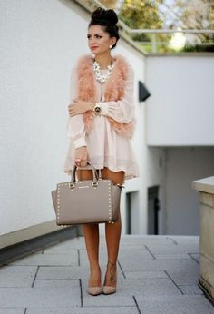 Rachel Tunic Dress in blush minus the furry vest!