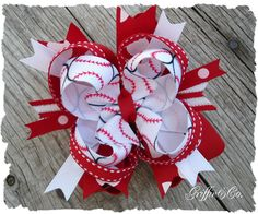 """Baseball 4"""" Boutique Stacked Hairbow- Red, White Hair Bow-Griffinandco. $9.95, via Etsy."""