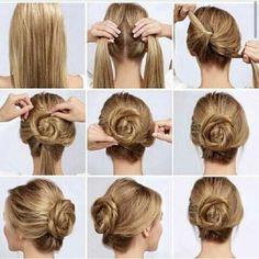 17 Bun Hairstyles Worth A Steal - Bun Hairstyles 17 Bun Hairstyles Worth A Steal There are many amazing hairstyles we women love; one of them is Bun Hairstyles. We love Bun hairstyles because they are easy Medium Hair Styles, Curly Hair Styles, Natural Hair Styles, Work Hairstyles, Amazing Hairstyles, Simple Hairstyles, Hairstyles Haircuts, Rose Hair, Rose Bun
