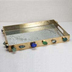 KELLY WEARSTLER | BAUBLE TRAY. Burnished brass tray with semi precious stones