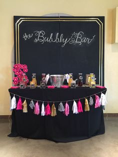 Black and gold mimosa bar. The backdrop is made out of plywood and chalkboard paint. Winery Bridal Showers, Mimosa Bar, Chalkboard Paint, Plywood, Making Out, Backdrops, Bride, Gold, Black