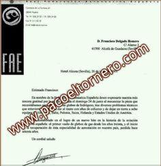Mecanizados Delgado: Carta de reconocimiento de la FAE