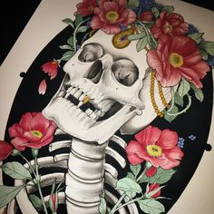 Update: Flowery skeleton friend TAKEN!   Ps. Whoa 100k, to all you real people and robots, thank you for looking and keeping me on my toes. You're all welcome to come say hello in real life at Scythe&Spade. Or to you tattooers, I'm always looking for fun guest artists and even have a permanent spot open now. Let's not just be internet friends! 🖤