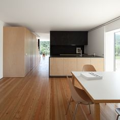 Fonte Boa House is a minimalist residence located in Fonte Boa, Portugal, designed by João Mendes Ribeiro. Desk Areas, Workspace Inspiration, Concrete Blocks, Home Projects, Home Kitchens, Architecture Design, Minimalism, New Homes, Tiny Homes