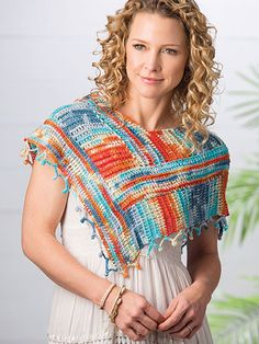 Crochet - Keep the summer sun off your shoulders with this breezy poncho. Crocheted in an open, knit-look Tunisian stitch, the multi-textural yarn and striking colors create the bold look. Design is made using a DK-weight yarn. Size: One size fits most. Crochet Poncho Patterns, Crochet Coat, Love Crochet, Crochet Shawl, Easy Crochet, Crochet Afghans, Crochet Flower, Irish Crochet, Tunisian Crochet Free
