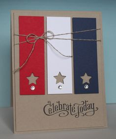 This is a card we made at my stamp classes last week - So fun for a 4th of July card!! I was inspired by a sneak peek of a picture HERE ...
