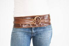 Dark Chestnut Brown Leather belt with large Antique by cocobloo, $79.95