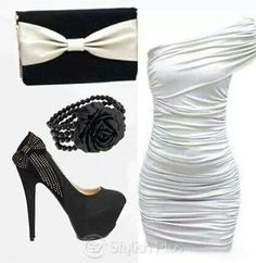 Elegant outfit I'd never wear white so a different color on the dress would be perfect