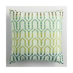 Cool Geometric Embroidered Indoor Outdoor Throw Pillow ($30) via Polyvore featuring home, outdoors, outdoor decor, outdoor throw pillows, outdoor toss pillows, outdoor garden decor and outdoor accent pillows