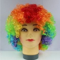 Halloween Party Supplies Color Synthetic Wig 1PC/lot Explosion Hair Style Funny Props Clown Wig Curly Cheap Cosplay Wig.Halloween masquerade party  funny wig, essential supplies.That to make some change in the hairstyle,It brings out a  happy mood around us .n unusual appearance.Ok, maybe  you can think about the wigs.