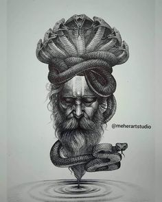 Snake Drawing, Snake Art, Shiva Art, Hindu Art, Art Drawings For Kids, Art Drawings Sketches, Portrait Sketches, Abstract Pencil Drawings, Lord Shiva Painting