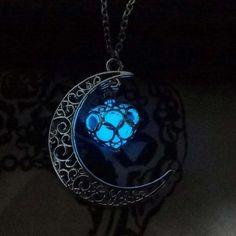 Collier Lune Lumineux, Argent Plaqué
