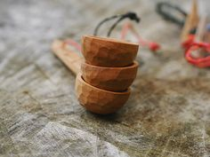 Miscellaneous Adventures hand carved wooden coffee scoops.