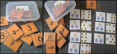 Mes centres de mathématiques pour la période 1 en CP (Elau) Busy Bags, Cube, Teaching, School, Cycle 2, Ranger, Foods, Math Workshop, Montessori Math