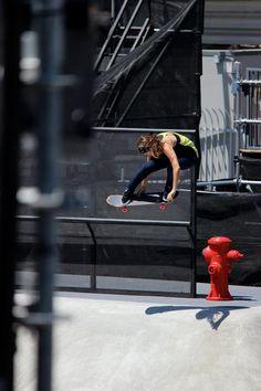 girl whit a skateboard...she's flying...;-)