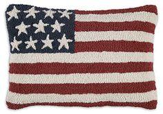 "Stars & Stripes 14"" X 20"" Hooked Wool Pillow"