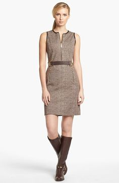 MICHAEL Michael Kors Leather Buckle Trim Tweed Dress