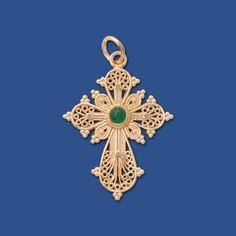 Greek Filigree Cross (14kt Yellow Gold, Emerald) - Gallery Byzantium's Filigree cross is a beautiful 20th century design featuring intricate Byzantine scroll motifs.