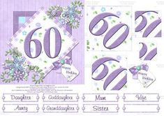 Perfectly Purple 60th Birthday Pyramid Card on Craftsuprint designed by Lisa Baglietto - This is a gorgeous female birthday age card, that is perfectly purple! I have designed this new range in lots of ages. I have also included various relative banners as well as a blank one, so that you can personalise with a name if you wish. - Now available for download!