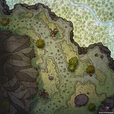 Mountain Pass Cliff Trail river valley Battle Map d&d Dungeons & Dragons med Forest Map, Pathfinder Maps, Isometric Map, Village Map, Rpg Map, Map Pictures, Mountain Pass, Dungeon Maps, D&d Dungeons And Dragons