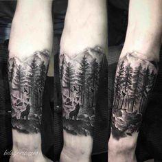7741dd1ce Espectaculares Tatuajes de Bosques y su Significado Forest Forearm Tattoo,  Wolf Tattoo Forearm, Forest