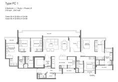 Principal Garden floor plan - 5 bedroom + study + private lift http://www.newlaunchonline.com.sg/principal-garden-showflat/