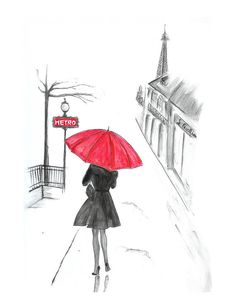 Red umbrella watercolor fashion illustration, Paris in rain black and white print, girls room décor, teen bedroom fashion wall art