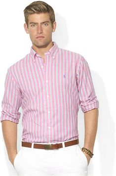 Pink Vertical Striped Longsleeve Shirt by Polo Ralph Lauren. Stylish Men, Men Casual, Polo Shirt Outfits, Dress Shirt And Tie, Ralph Lauren Custom Fit, Summer Outfits Men, Camisa Polo, Mens Fashion Suits, Mens Clothing Styles