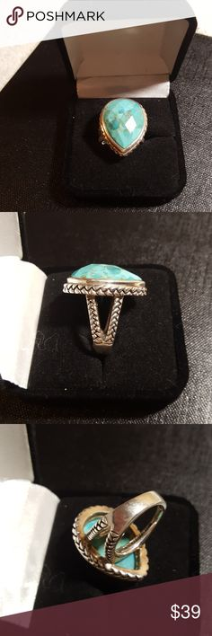 """Barse turquoise ring SS 💍Tear drop shape. Stone is 1"""" long. Faceted genuine turquoise. Stamped 925. Barse (designer)💍 Jewelry Rings"""