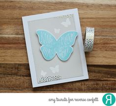 Card by Amy Tsuruta. Reverse Confetti stamp set and Confetti Cuts: Butterfly Dreams. Thank you card. Friendship card.