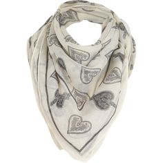 Cream Heart And Spade Scarf ($17) ❤ liked on Polyvore featuring accessories, scarves, sciarpe, women, patterned scarves, cream shawl, miss selfridge and print scarves